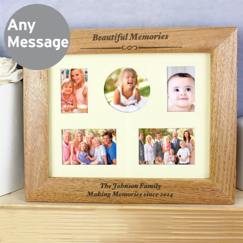 Personalised Multi Aperture or 10x8  Wooden Family Any Message Photo Frame
